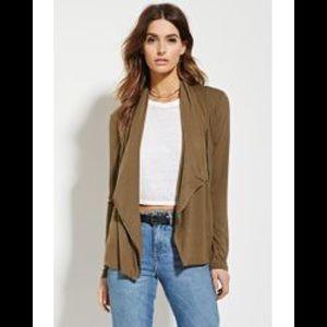NWOT Olive Green Zip Up Moto Slouchy Jacket
